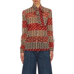 REDValentino Printed silk-blend blouse ($655) ❤ liked on Polyvore featuring tops, blouses, red valentino blouse, bow tie neck blouse, red top, bow neck blouse and geometric top