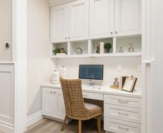 Built-in desk/ home office. Decor, Built In Desk, House, Home, Hamptons Style Homes, Computer Nook, Home Office Design, Desk Cabinet, Kitchen Desk Areas