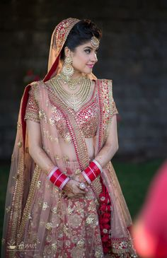 Looking for Red bridal lehenga with gold sequin work? Browse of latest bridal photos, lehenga & jewelry designs, decor ideas, etc.