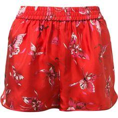 F.R.S Red Silk Pyjamas Shorts. Butterflies Print. Elasticated Waist. ($240) ❤ liked on Polyvore featuring intimates, sleepwear, pajamas, silk pajamas, red pjs, silk pyjamas, silk sleepwear and red silk pajamas
