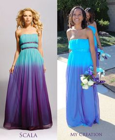 What beautiful....and unique....bridesmaid dresses done in purple and turquoise!
