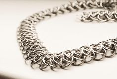 Statement necklace wide chainmaille silver by LumaHandmadeJewelry Fashion Group, Chainmaille, Product Description, Trending Outfits, Friends, Unique Jewelry, Bracelets, Handmade Gifts, Silver