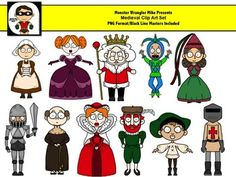 11 colorful png files and 11 black line masters for a total of 22 png files. These fun medieval characters include kings and queens, jesters and knights. Use them to decorate your personal or commercial products (complete terms of use are included in the compressed zip file).