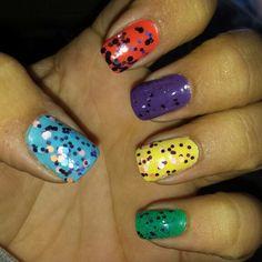 colorful glitter nails!! #Polished2aT #BeechCreekSalon