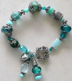bracelet in aquas, blue green family