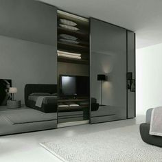 Rialto is a sliding glass wardrobe which is suitable for any bedroom design. Wardrobe Door Designs, Wardrobe Design Bedroom, Closet Designs, Closet Bedroom, Wardrobe Closet, Wardrobe Ideas, Black Bedroom Design, Sliding Door Design, Sliding Glass Door