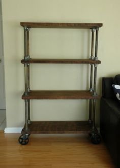 industrial bookcase on casters