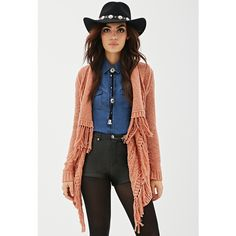 Forever 21 Women's  Cable Knit Fringe Cardigan ($23) ❤ liked on Polyvore featuring tops, cardigans, fringe top, short-sleeve cardigan, fringe cardigan, cable cardigan and floral cardigan