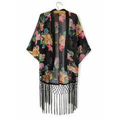 Trendy Style Collarless Floral Print Tassel Splicing Half Sleeve Women's Kimono