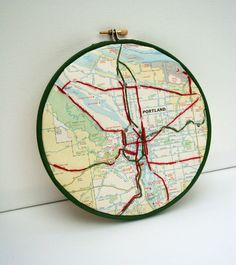 Portland Map Embroidered by yinsteadofi on Etsy, $30.00