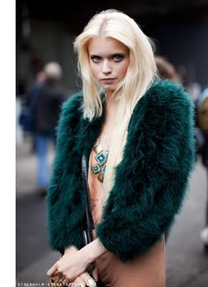 Abbey Lee Kershaw in a emerald green fur jacket over a slinky silk slip.  Perfect 90's grunge girl.