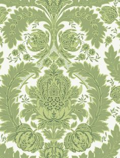 A graceful pattern arrangement of leaves and budding flowers makes up this very handsome damask wallpaper design.