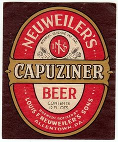 1940's Neuweiler's Capuziner Beer Label
