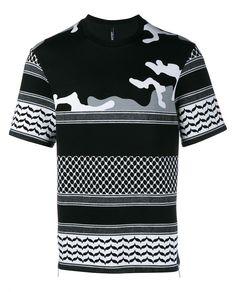 NEIL BARRETT Monochrome Print Short Sleeve T-Shirt