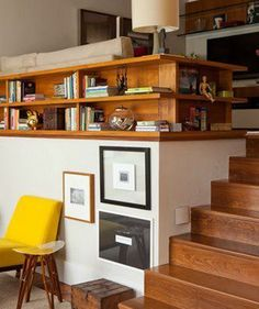 Shelves instead of railings. Great idea!!