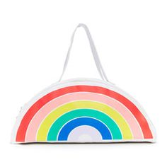 Rainbow bag with a gold smiley face zipper pull for the sake of being extra awesome.