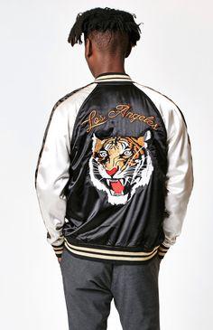 LA Tiger Souvenir Zip Jacket Gucci Fashion, Urban Fashion, Embroidered Bomber Jacket, Painted Jeans, Satin Jackets, Cool Jackets, Athletic Fashion, Shirt Jacket, Pacsun