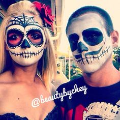 Makeup by Beauty by Chey. Instagram: @beautybychey - beautybychey.com :) costume day of the dead red couple halloween