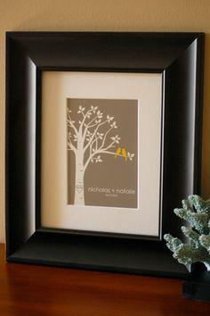 "Personalized Custom Love Birds Family Tree - 5""x7"" (Yellow/Gray)      karimachal      kari machal designs"