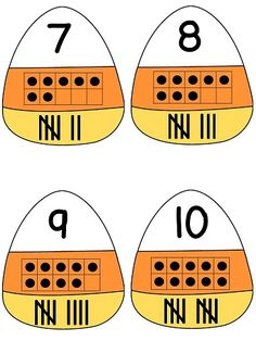 Candy corn number matching - Great October math center with cute recording sheet