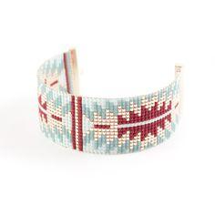 BRACELET TISSÉ - PLAQUÉE OR - PERLES MIYUKI - DORÉ - BLEU ET MARSALA : Bracelet par tadaam-bijoux