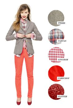Colorful pants & neutral blazer (would limit myself to ONE patterned shirt, and probably basic heels for the office)