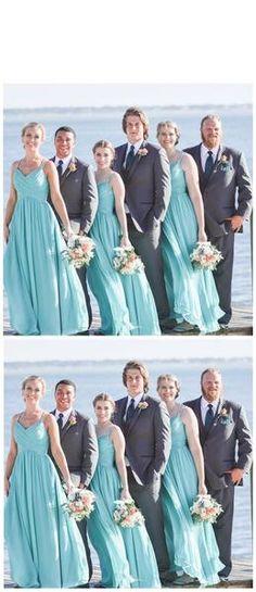8811b59a1b304 Tiffany Blue Straps Chiffon Custom Cheap Long Bridesmaid Dresses, WG24 –  LoverBridal Wedding Bridesmaid Dresses