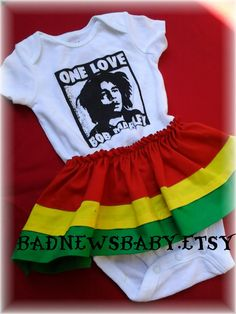 Bob Marley  onesie rasta dress by BadNewsBaby on Etsy, $25.00