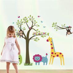 Maruoxuan Monkey Owl Animals Tree Cartoon Vinyl Wall Stickers For Kids Rooms Home Decor Diy Child Wallpaper Art Decals Poster Home & Garden Home Decor