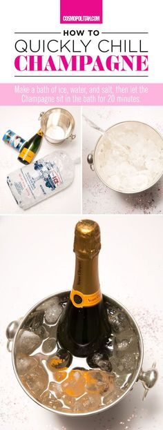 HOW TO CHILL CHAMPAGNE QUICKLY: Use this mini guide to chill your champagne asap! This drink hack is super handy for last minute parties or celebrations! You can also use this hack to chill beer, wine, and other beverages quickly. Find more champagne and cocktail ideas here for New Year's Eve and at Cosmopolitan.com.