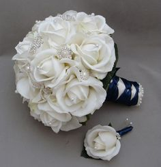 White Bouquet And Navy Ribbon For A Winter Wedding