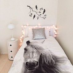 Love the bird silhouette, lights, nightstand, and the horse bedding! Horse Themed Bedrooms, Bedroom Themes, Bedroom Decor, Horse Rooms, Bedroom Ideas, Big Girl Bedrooms, Little Girl Rooms, Girls Bedroom, My New Room