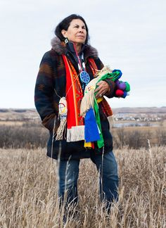 Rachelle Figueroa, 65, holds her pipe bag, which houses her chanupa, a sacred ceremonial pipe.