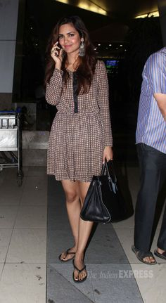 Esha Gupta was spotted at the airport looking cute in a dress with flip-flops…