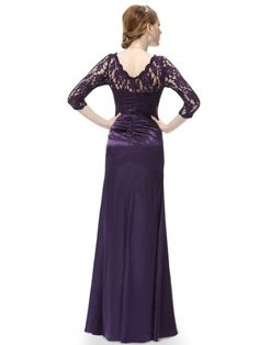 This stunning evening dress features a figure flattering ruched satin waist and a 3/4 sleeve lace bust.