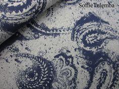 """Stoff Ornamente - Sweat """"Vintagedruck"""" grau-dunkelblau - ein Designerstück von SoffieTulemba-Material bei DaWanda"""