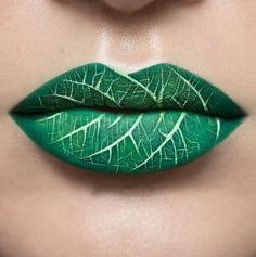 Novedosos Diseños Para Labios hoja verde