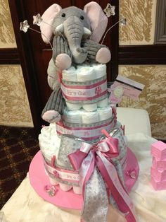 Ohhh so cute Elephant diaper cake!!! Contact crazy4favors for your baby shower!!!