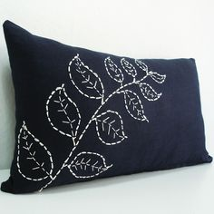 Sukan / Hand Embroidered White Linen Pillow Cover Navy Blue - Throw Pillow Cover, Decorative Pillow Cover Navy Blue  Lumbar Pillow