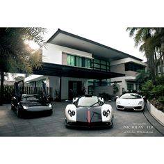 Stunning 3 super cars and a stunning house! I will take the Pagani please :)