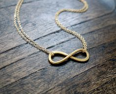 Gold Infinity Necklace / Double Strand Necklace / I'll Love you Forever And Always / Best Friend Infinity Necklace. $34.00, via Etsy.