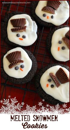 I made these Melted Snowmen Cookies or Chocolaty Melting Snowmen as they're referred to in Better Homes & Gardens Christmas Cookies, during aflurry of holiday baking before Christmas in Decemb...