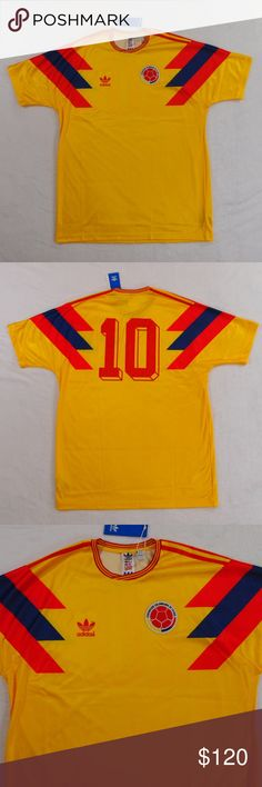 00fe39c284ec2 Adidas Colombia 1990 World Cup Valderrama Jersey 100% Authentic. New with  tags. Adidas