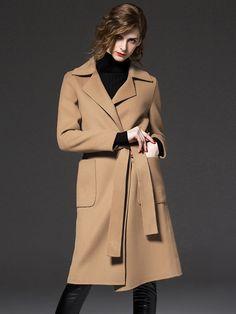 Camel Belted Waist Open Front Wool Smart Coat