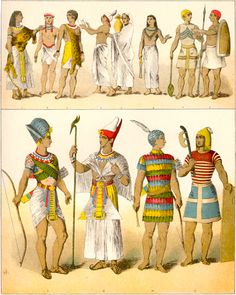 #2 January 13, 2015  Looking at Egyptian Headwear. All men wore a wrap-round skirt that was engaged at the waist with a belt. The ancient Egyptians wore light garments made from linen. Linen is made from flax – a plant which was grown along the Nile.  Bottom four images are very interesting Egyptian headpieces!