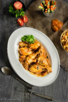 Apricot Chicken Curry With MatchStick Potato Fries (Jardaloo Sali Murghi) | The Gastronomic BONG