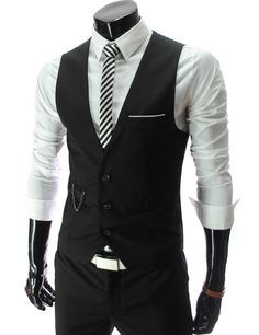Slim Fit three button vest in black... Larry just got this and it looks so good on him, with or without his suit.