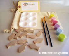 DIY Wooden Fish and Paint Kit (Warm Tropics) in a Bag Arts and Crafts Kit for Kids