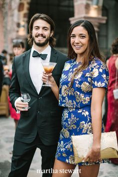"When in doubt, stick to a black tie, but if you'd rather dress a bit more casually, you can. According to Corry, men can wear a dark suit instead of a tuxedo and a conservative tie instead of a bow tie. For women, ""a chic cocktail dress is perfect,"" says Corry. #weddingideas #wedding #marthstewartwedding #weddingplanning #weddingchecklist"
