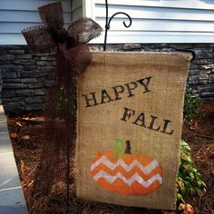 "Cute burlap ""Happy Fall"" sign! garden flags, burlap sign, fall crafts, burlap crafts fall, fall burlap crafts, happi fall, halloween signs, burlap happi, banner"